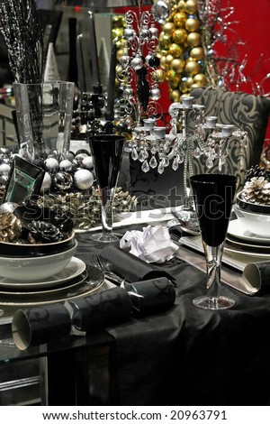 Dark Christmas table in black and silver - stock photo