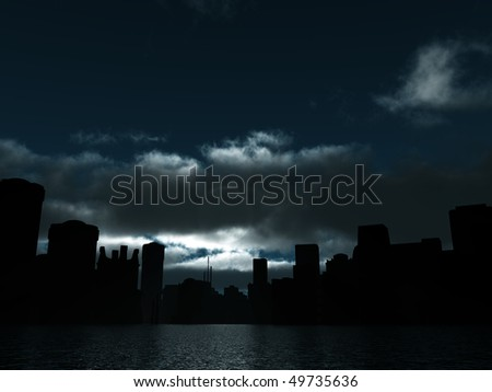 dark city is lighted moonlight and water surface - stock photo