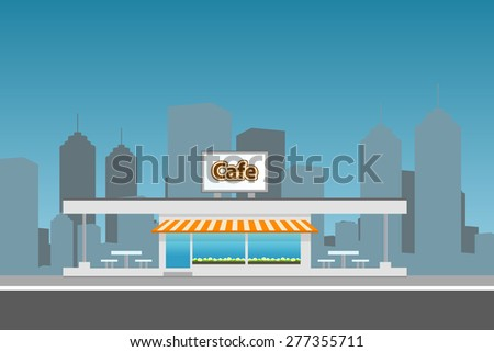 Dark Cityscape with cafe building. Flat illustration. - stock photo