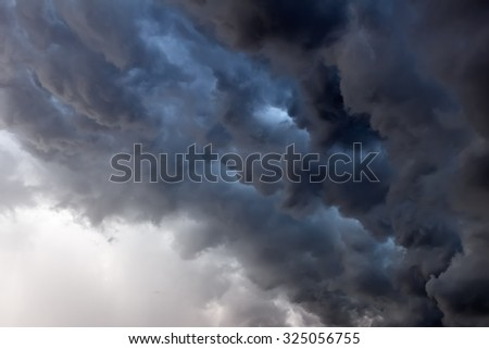 Dark Clouds before Thunderstorm - stock photo
