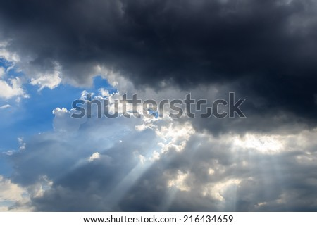 Dark Clouds eclipsed the sun before Thunderstorm - stock photo