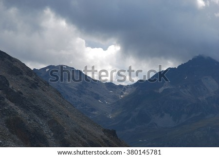 Dark clouds in the mountains