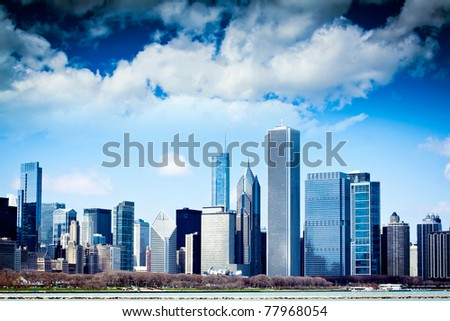Dark Clouds on Finance District - stock photo
