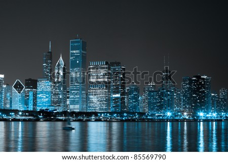 Dark Clouds on Finance District at Night - stock photo