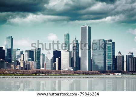 Dark Clouds on Finance District (Part  III) - stock photo