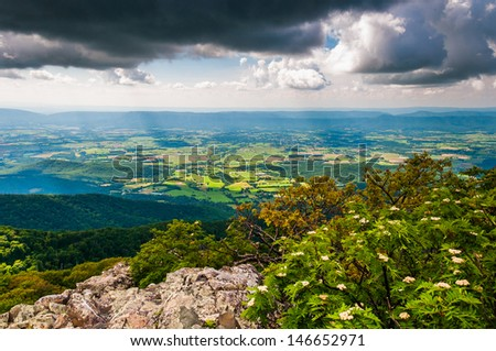 Dark clouds over the Shenandoah Valley, seen from Stony Man Mountain in Shenandoah National Park, Virginia. - stock photo
