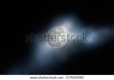 Dark cloudy and foggy full moon night background. Added some digital noise. - stock photo