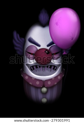 Dark clown with balloon full of spiders - stock photo