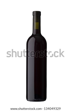 dark colored Wine bottle isolated on white background