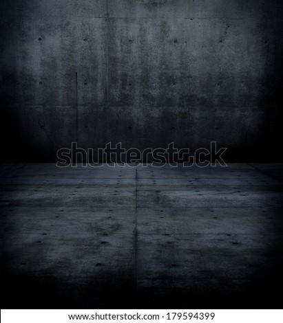 Dark concrete wall and floor. - stock photo