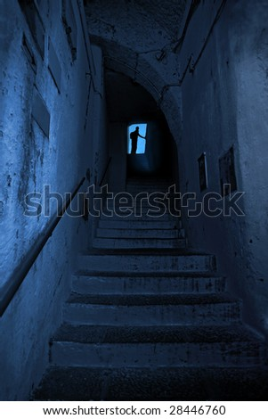 Dark corridor and exit outside