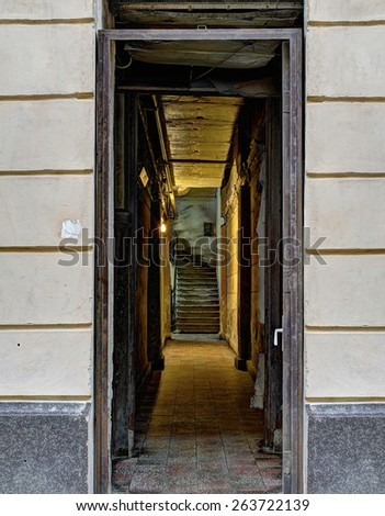 Dark corridor with staircases in hdr processing - stock photo