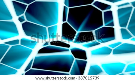 Dark cracked surface with ray light. Glowing geometry abstraction