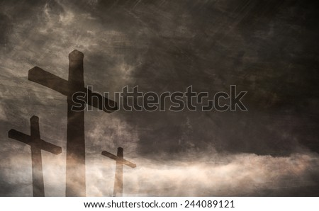 Dark Cross In The Clouds - stock photo