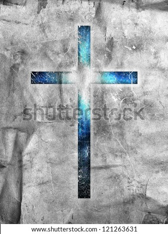 dark cross on dark background - stock photo