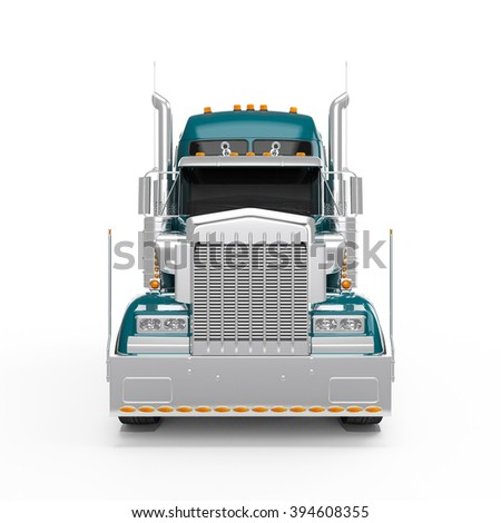 Dark Cyan american truck front view isolated on white background - stock photo