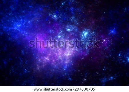 Dark deep space nebula with stars. - stock photo