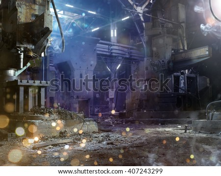 Dark destroyed factory military background  - stock photo