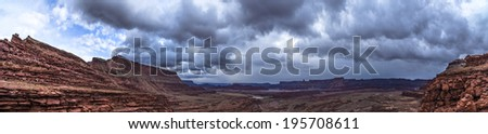 Dark Dramatic clouds and beautiful views from the Hurrah Pass Trail Panoramic Shot - stock photo