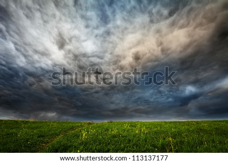 dark dramatic clouds over meadow with green grass and small flowers