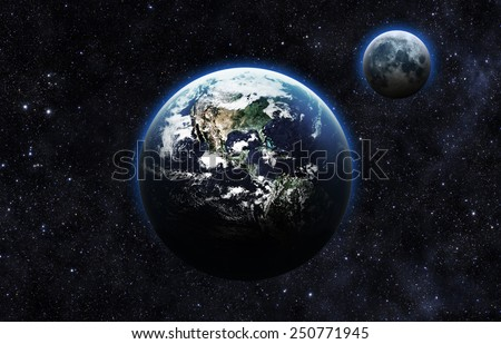 Dark Earth and Moon - Elements of this Image Furnished by NASA - stock photo