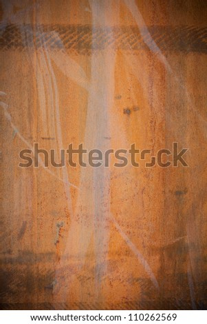 Dark edged old rusty iron metal plate background textured