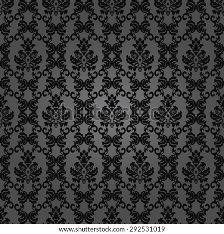 Dark elegant floral vintage wallpaper.Seamless damask pattern.  - stock photo