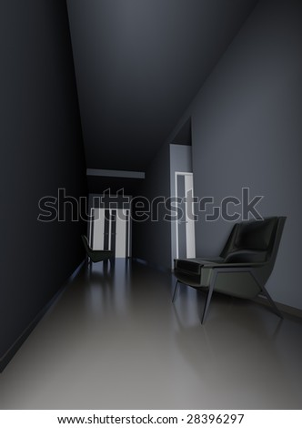 dark empty hall of business center with arm-chairs at walls