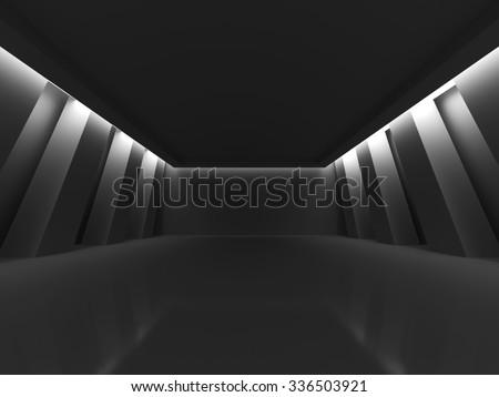 Dark Empty Room Columns Design Background. 3d Render Illustration - stock photo
