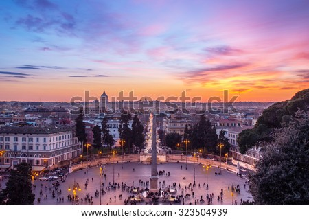 Dark evening cityscape of Rome from above, at sunset, with Piazza del Popolo lit by street lanterns. Artistic edit.  - stock photo