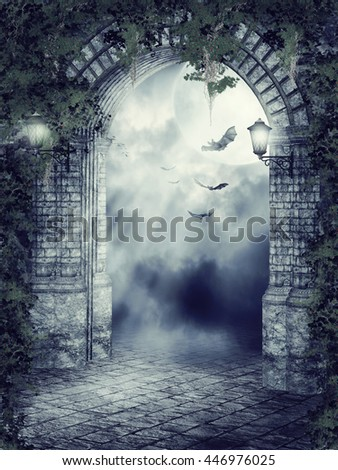 Dark fantasy gate with lamps, ivy and bats. 3D illustration.