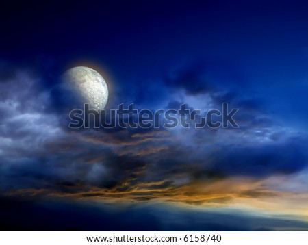 dark fantasy illustration with blue and orange sky and big, bright moon