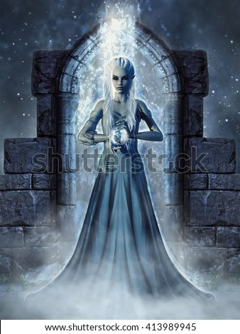 Dark fantasy scenery with an elven sorceress standing in a magic portal. 3D illustration. - stock photo