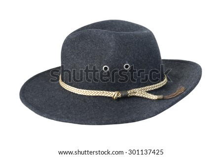 Dark Felt Hat with braided cord - path included - stock photo