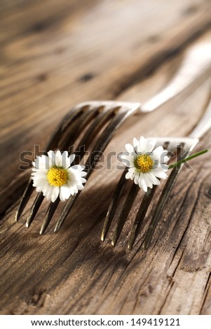 dark forks on desk  - stock photo