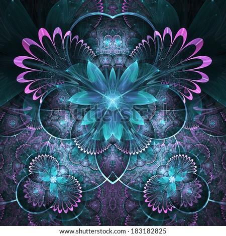 Dark fractal floral pattern, digital artwork for creative graphic design - stock photo
