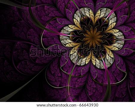 Dark fractal flower - stock photo