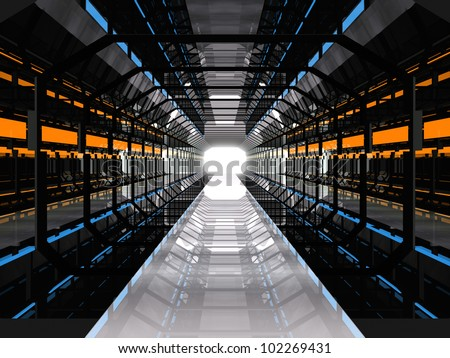 Dark futuristic corridor with blue and yellow lights - stock photo