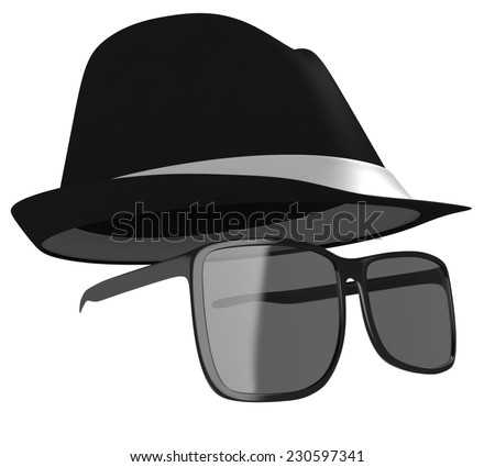 Dark glasses and black hat disguise for a detective or spy - stock photo