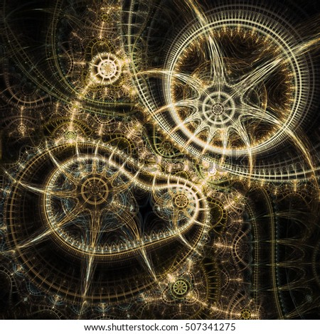 Dark golden fractal time machine, digital artwork for creative graphic design