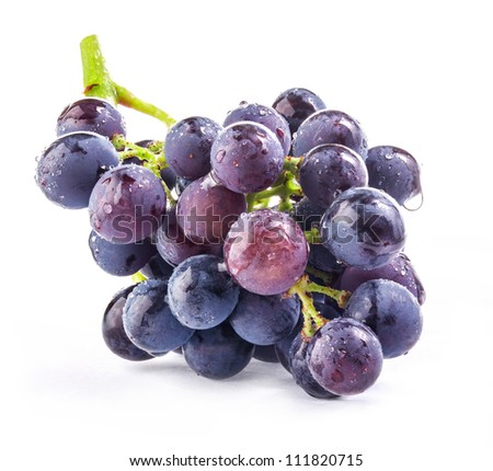 Dark grapes, Isolated on white background - stock photo