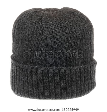 Dark gray knit hat isolated on white background - stock photo