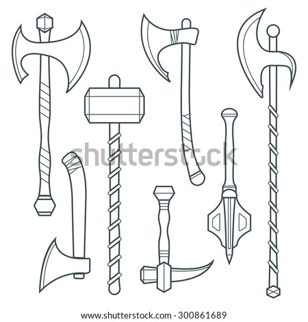 dark gray outline cold medieval weapons set with ax axe hammer mace halberd battle poleax