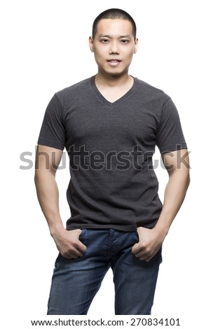 Dark gray t-shirt on a young man isolated on the white background-Studio shot ready for your own graphic. - stock photo