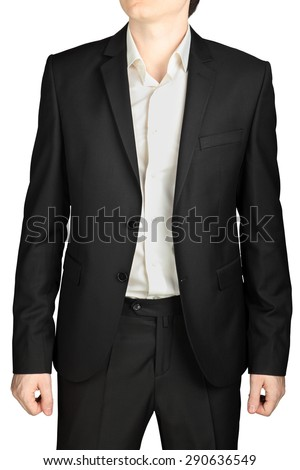 Dark gray wedding suit, unbuttoned jacket, white shirt, no tie, isolated on a white background. - stock photo