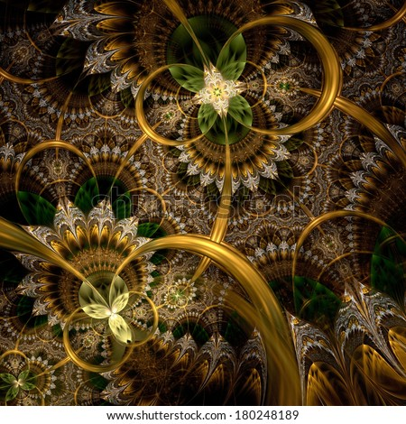 Dark green and gold fractal flower pattern - stock photo