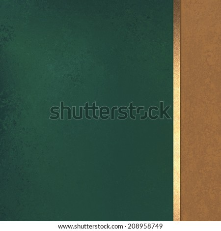 dark green background with brown sidebar and gold ribbon stripe, formal elegant background design layout