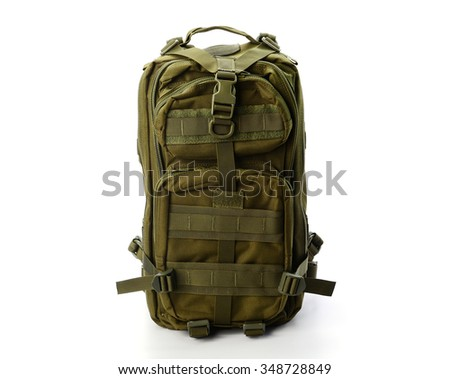 dark green backpack standing isolated on white background - stock photo