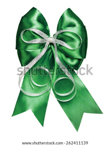 dark green bow with silver ribbon made from silk isolated - stock photo