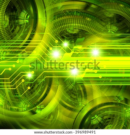 dark green Circle wave Light Abstract Technology background for computer graphic website internet and business. circuit. illustration. digital. infographics. binary code background. gear
